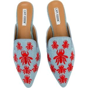 Shoes - NEW! Denim Blue Embroidered Mule Flat